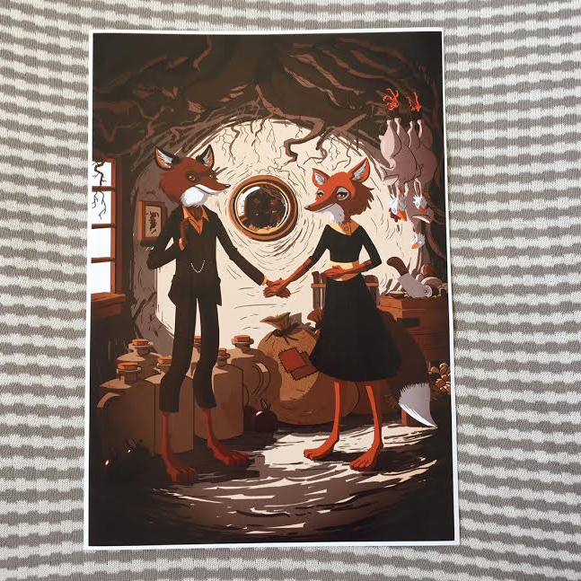 A gorgeous print to welcome dogs, foxes, people and other lovely folk (Mr & Mrs Fox by Doug Holgate ... I adore it!).